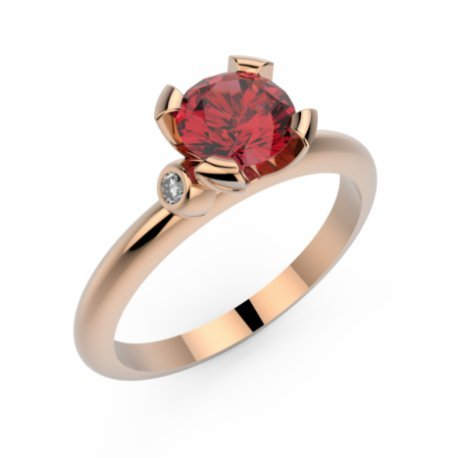 CHALVA Bagues Or Blanc 18 carats Rubis Rouge 0,6 Rond
