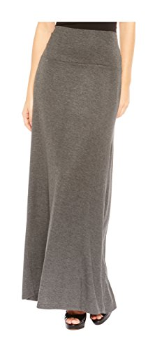 Red Hanger Women's Stylish Solid Long Maxi Skirt - Made in USA, Charcoal-L by Red Hanger