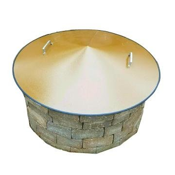 "36"" Round Conical Metal Wood Gas Fire Pit Campfire Ring Cover"