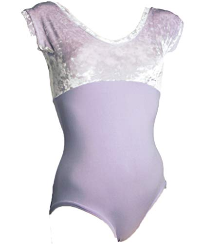 - SteelCore Women's Cap Sleeve Empire Leotard with Crushed Velvet Bodice, Lavender Medium