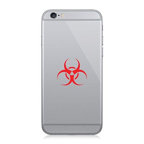 - Pair of Biohazard Cell Phone Stickers Mobile bio Hazard Symbol - Red
