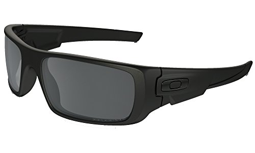 Oakley Crankshaft Sunglasses (Matte Black Frame, Polarized Solid Black Mirror - Matte Oakley