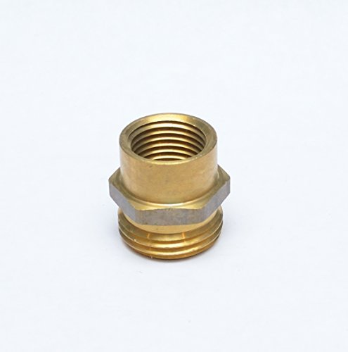 "FASPARTS 1/2"" Female NPT FPT FIP to 3/4"" Male GHT Garden Hose Thread Adapter Brass Fitting Fuel / Air / Water / Boat / Gas / Oil WOG House / Boat / Lawn / Power Wash / Irrigation"