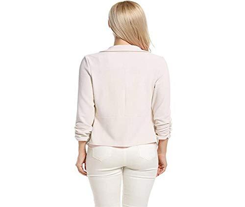 Femme Courte Simple Blanc Cardigan Taille Work Vintage Ouvert Grande 4 Automne Chic Short Tops Blazer Avant Office 3 ete Sleeve Gilet qCwqpA
