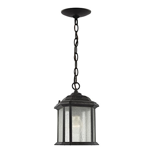 Sea Gull Lighting 60029-746 Kent One-Light Outdoor Semi-Flush Convertible Pendant with Clear Seeded Glass Panels, Oxford Bronze Finish