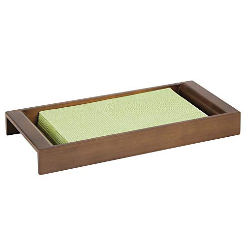 mDesign Bamboo Wood Storage Organizer Tray for Bathroom Vanity Countertops, Closets, Dressers - Holder for Watches, Glasses, Cologne, Keys, Grooming Kit and Guest Hand Towels - Brown