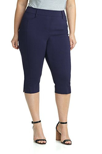 Closed Fly Pant - Rekucci Women's Ease in to Comfort Curvy Fit Plus Size Capri w/Tummy Control (20W,Navy)