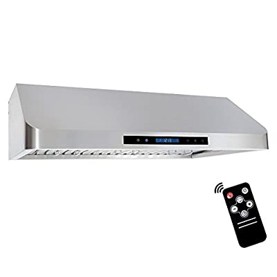 Cosmo QS90 36-in Under-Cabinet RangeHood 900-CFM | Ducted / Ductless Convertible Duct , Wireless Kitchen Stove Vent with LED Light , 3 Speed Exhaust , Fan Timer, Permanent-Filter ( Stainless Steel )