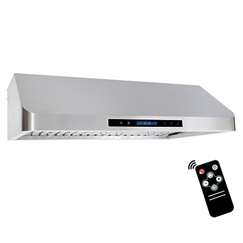 Cosmo QS90 36-in Under-Cabinet RangeHood 900-CFM | Ducted / Ductless Convertible Duct , Wireless Kitchen Stove Vent with LED Light , 3 Speed Exhaust , Fan Timer, Permanent-Filter ( Stainless Steel ) ()