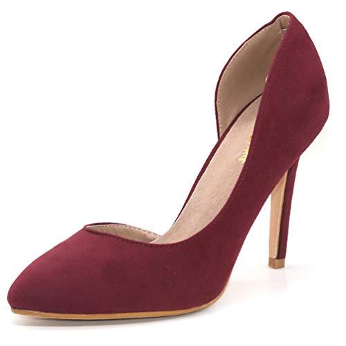 Semelle intérieure Hauts Chaussures Cuir Pompes Rouge Talons Sexy Mariage Talons Femme d'été véritable Vin en Femmes HqOY7w0v