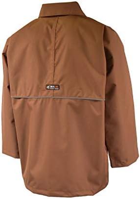 10/4 JOB, Nylon & Mesh Rainsuit Jacket with Detachable Hood, Velcro Pockets, Center Zipper