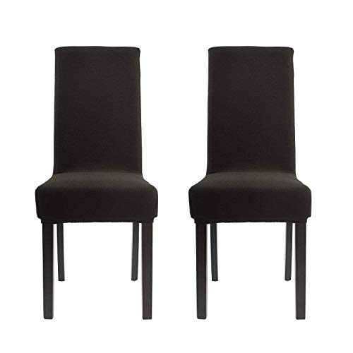 Homluxe Dining Room Chair Covers Stretch Kitchen Parson Chair Slipcovers (2, Black Knit)