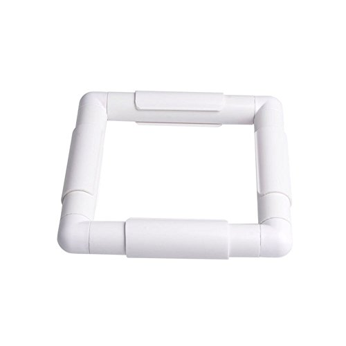 ZKer Square Embroidery Hoop, Plastic Cross Stitch Frame White Cross Stitching Frame Sewing Hoop Handhold Craft Clip Frame Embroidery Snap Frame Hoop DIY Sewing Tools for Cross Stitching -