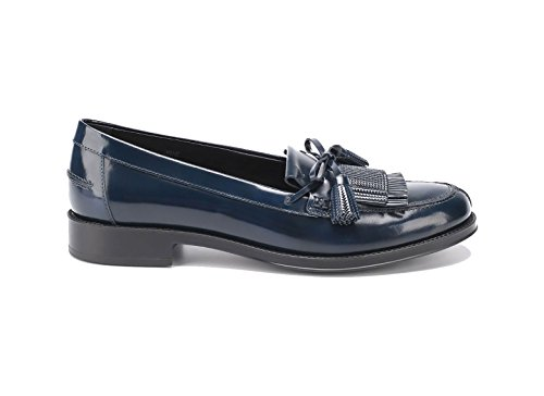 Tod's Moccasin in Leather Blue, Womens.
