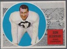 1960 Topps CFL (Football) card#21 Ron Albright of the Calgary Stampeders Grade Very Good