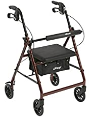 """Drive Medical Aluminum Rollator Walker Fold Up, Pad Seat, 6"""" Wheels, Red, 1 Count"""