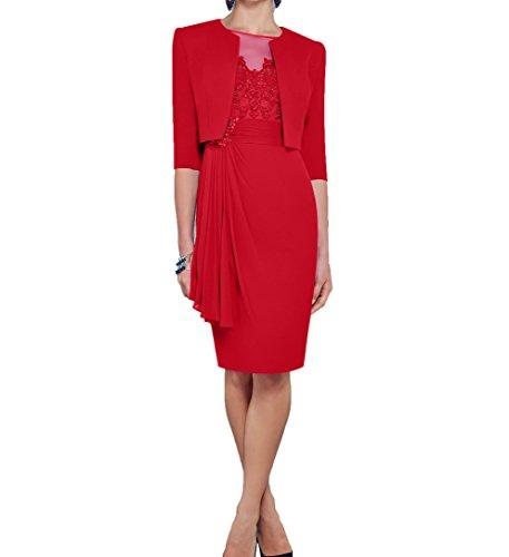Damen Langarm Charmant Brautmutterkleider Rot Etuikleider Festlichkleider mit Blau Bolero Abendkleider Royal dwAqw86F