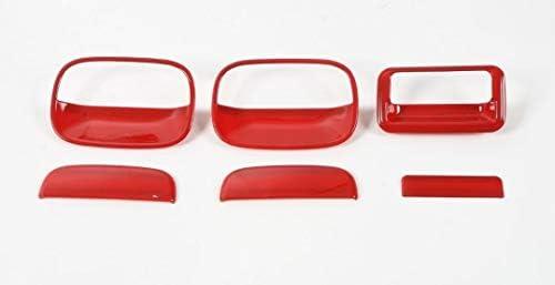 スズキ ジムニー 2012-2017年 車のドアハンドル&テールゲートハンドルトリムカバー Suzuki Jimny カーパーツ ジムニー アクセサリー 6点セット レッド