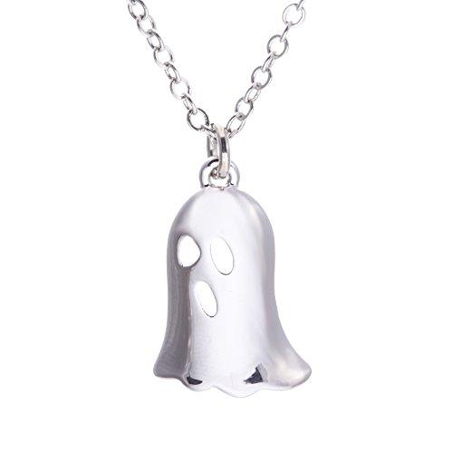 SENFAI Silver Halloween Evil Spiders, Ghosts, Bats Pendant Necklace (5) -