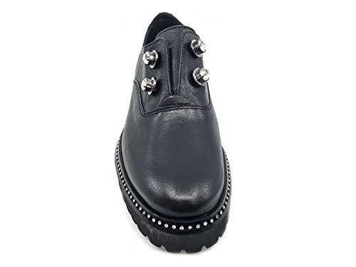 Mujer De Negro Cuero Zapatos Cuoieria Para Cordones Antica qTZYwOn