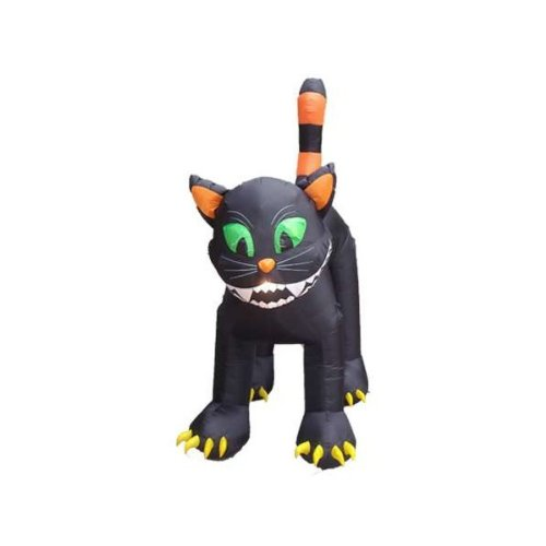 CC Inflatables Inflatable Animated Black Cat Lighted Halloween Yard Art Decoration, 11'