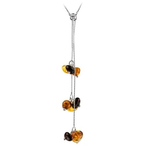 Sterling Silver Multicolor Amber Caramel Kiss Collection Y Necklace 19 Inches ()