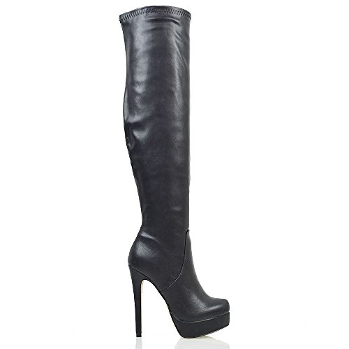 Unbranded Womens Over The Knee High Heel Ladies Platform Stretch Zip Stiletto Boots Black Synthetic Leather