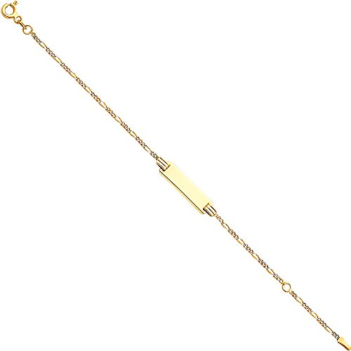 CUSTOM ENGRAVED - 14K Two Tone White and Yellow Solid Gold Figaro 3+1 WP Baby ID Bracelet - 5+1'' by Jewelry by Ioka