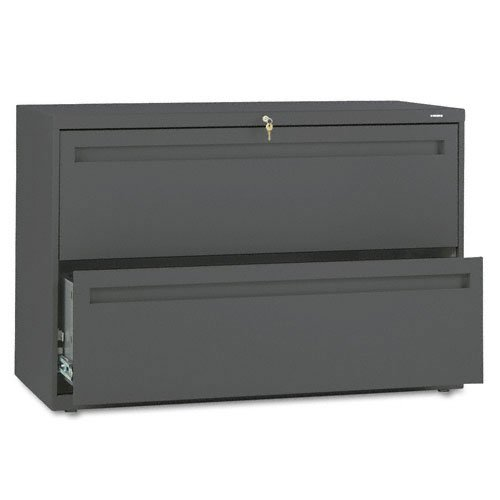 HON Products - HON - Brigade 700 Series Two-Drawer Lateral File, 42w x 19-1/4d x 28-3/8h, Charcoal - Sold As 1 Each - Counterweight included, where applicable, to meet ANSI/BIFMA requirements. - Lock secures both sides of drawer. - Three-part telescoping slide suspension. - Leveling glides adjust for uneven floors. - Mechanical interlock allows only one drawer to open at a time to inhibit tipping.