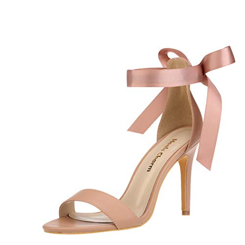 Women's Nude Size 10 Lace Up Stilettos Open Toe Strappy Heeled Sandals Dress Sandals