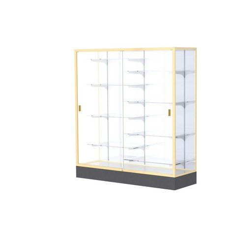 Aluminum Waddell Frame (Waddell 2605-WB-GD Colossus 60 x 66 x 20 in. Aluminum Frame Floor Display Case with Black Laminate Base44; White Back - Champagne Gold)
