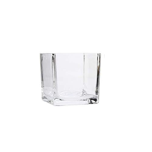 Hosley 3.94 Inch High Clear, Square Glass Tealight/Votive Holder. Ideal Gift for Wedding, Party, Spa and Aromatherapy. O5