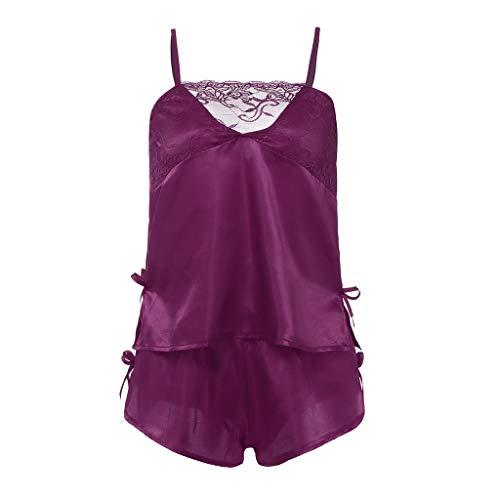 (Women's 2Pcs Set Nightwear, Bow Detail Cotton Cami Crop Pajama Lace Trim Satin Top + Shorts - Breast Petals - Black Bodysuit Chemise Compression Corset Corsets Cotton (Purple, M))