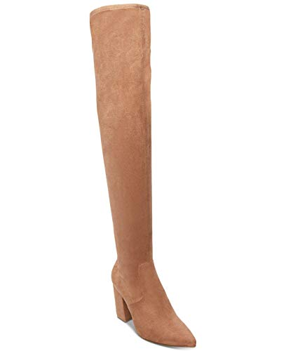 Steve Madden Womens Rational Fabric Pointed Toe Over Knee Fashion, Tan, Size 5.5