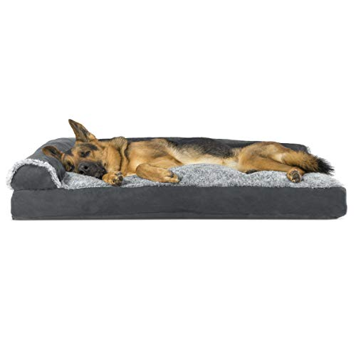 Furhaven Pet Dog Bed | Two-Tone Plush Faux Fur & Suede L Shaped Chaise Lounge Pillow Cushion Sofa-Style Living Room Corner Couch Pet Bed w/ Removable Cover for Dogs & Cats, Stone Gray, Jumbo