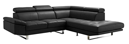 Moes Home Collection Andreas Right Leather Sectional Sofa, Black