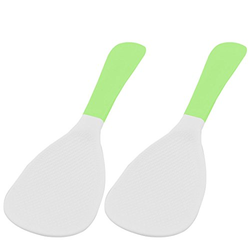 uxcell Plastic Home Dinning Room Cooking Rice Porridge Scoop Spoon Ladle Paddle 2 Pcs Green