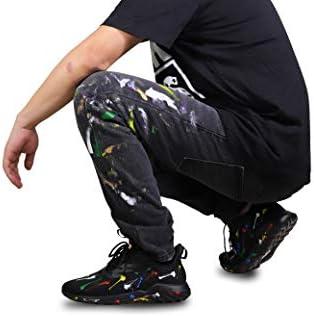 Soulsfeng Jeans Décontracté Imprimé Skinny Noir Denim Pantalon High Street Mode Jeans Pantalon