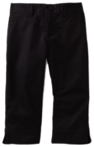 Dickies Big Girls' Stretch Flat Front Capri Pants, Black, 16 (Black Flat Front Capri)