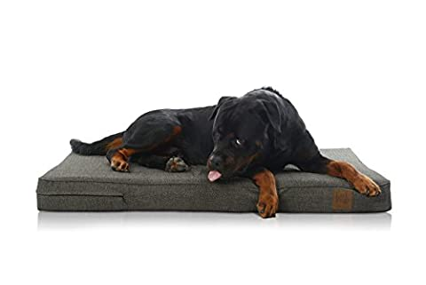 LaiFug Orthopedic Memory Foam Pet/Dog Bed (Large46''x28''x4'', Black Coffee) with Durable Water Proof Liner and Removable Designer Washable (Brinkman Dog Stairs)