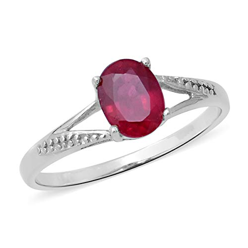 Oval Ruby Solitaire Ring 925 Sterling Silver Platinum Plated Jewelry for Women Size 8 Ct 1.4