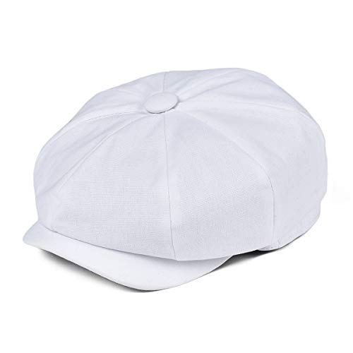 Canvas Newsboy Cap - JANGOUL Kids Cotton Cap Baby Boy Girl Newsboy Caps Infant Toddler Child Youth Beret Hat Ivy Gatsby Cap (52cm, Canvas Cotton-White)