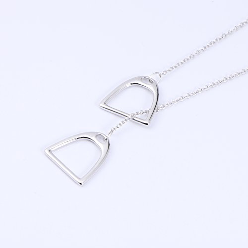 YFN Jewelry 925 Sterling Silver Simple Double Horse Stirrup Lariat Necklace Gift for Women Girls by YFN (Image #4)