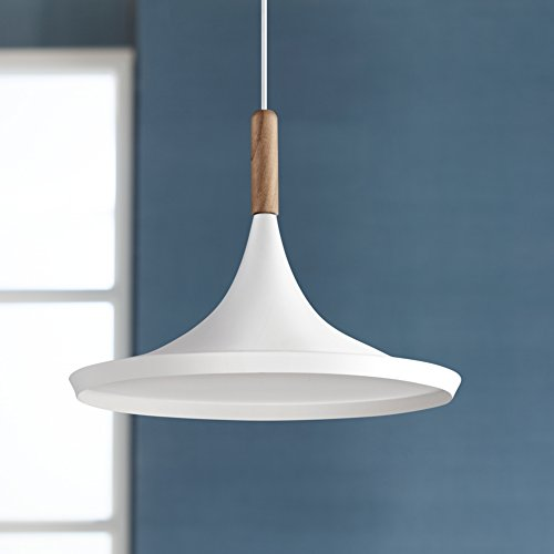 Felton White Aluminum and Wood 14'' Wide Pendant Light by Possini Euro Design (Image #1)