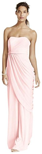 Long Strapless Mesh Bridesmaid Dress with Side Draping Style W10482, Petal, (Strapless Petal Dress)