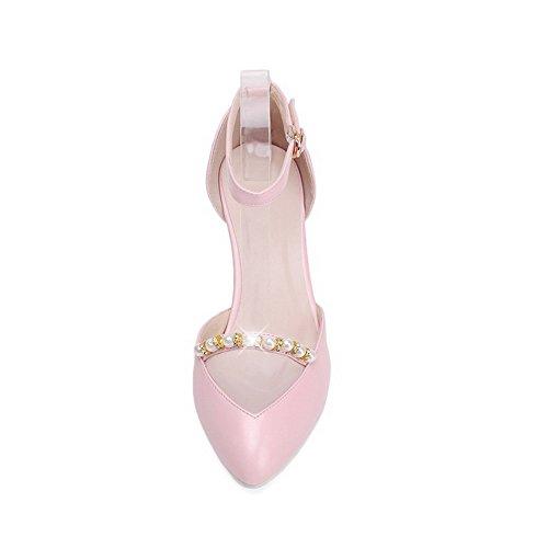 Boucle Chaussures À Avec Fermé Women Talon Allhqfashion Soft Bout Haut Rose pqzAWEx