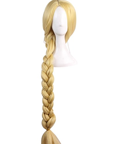 SIDNOR Tangled Halloween Cosplay Costume Princess Rapunzel Dress Ball Gown Outfit Suit (Wig, One Size fits All) ()
