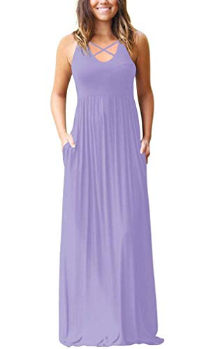 EZBELLE Women's Racerback Sleeveless Maxi Dress Loose Plain V Neck High Waisted Long Dresses with Pockets Lavender Large ()
