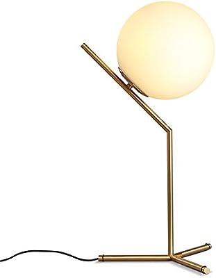 KunMai Modern White Globe Glass Shade Creative 1-Light Table Lamp & Metal Base in Brass