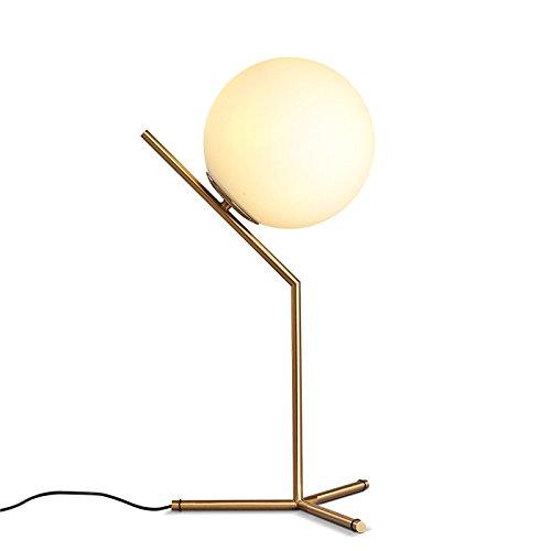Art Deco Brass Table - KunMai Modern White Globe Glass Shade Creative 1-Light Table Lamp & Metal Base in Brass